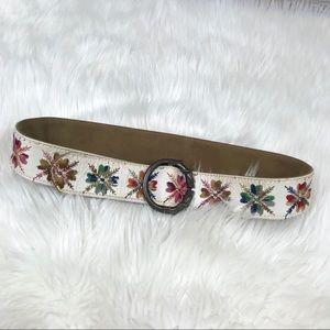 Vintage Retro Leather Floral Embroidered Belt